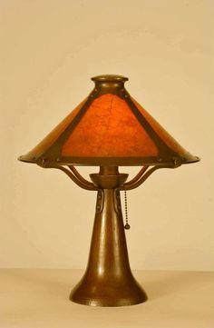 Aurora Studios Trumpet Lamp | Michael Adams | Hammered Copper | Arts and Crafts