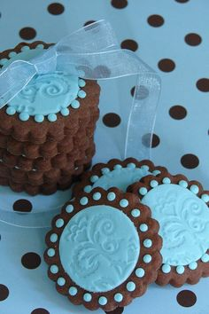 Chocolate Cookie Biscuits with Embossed Blue Fondant.