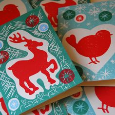Robin and reindeer handprinted christmas cards Christmas Cards, Xmas, First Class Stamp, Handmade Christmas, Reindeer, Colours, Robin, Christmas E Cards, Xmas Cards