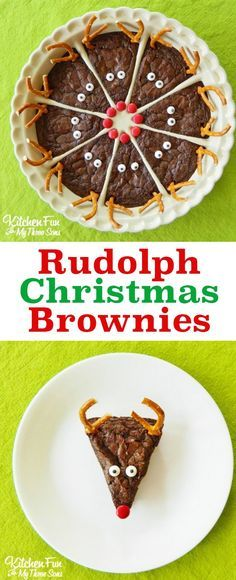 So cute! Love these easy Rudolph the Red Nose Reindeer Brownies. A perfect Christmas holiday party dessert for chocolate lovers.