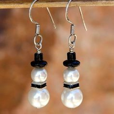 Christmas Snowman Handmade Earrings Swarovski Pearls Winter Jewelry | ShadowDogDesigns - Jewelry on ArtFire