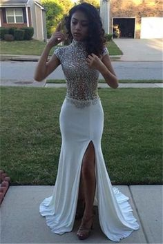 High Neck Beading Sequins Prom Dresses Cap Sleeves Front Split Evening Gowns