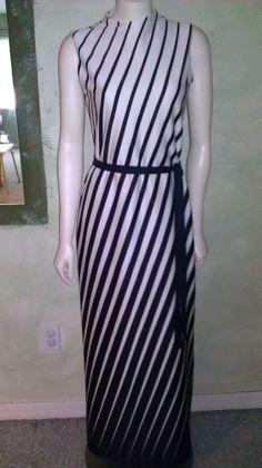 1d4ba4ad2a Vintage 1960s 70s Dress Mod Leslie Fay White Black Striped Maxi Slinky Sz M  Mod Dress