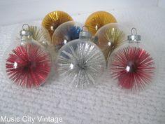Vintage Mid Century Christmas Ornaments POM POM Starburst Tinsel Glass Ball Ornaments