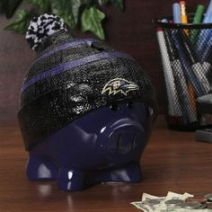 Baltimore Ravens Piggy Bank - Large With Hat
