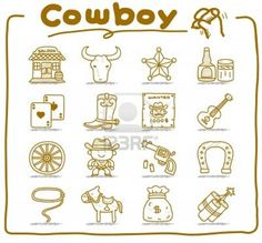 hand drawn wild west,cowboy icon set.doodle vector format. Stock Photo