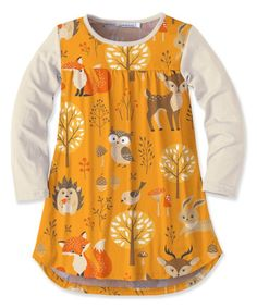 Look at this Sunshine Swing   Orange & Cream Woodland Animal Tunic - Toddler & Girls on #zulily today!