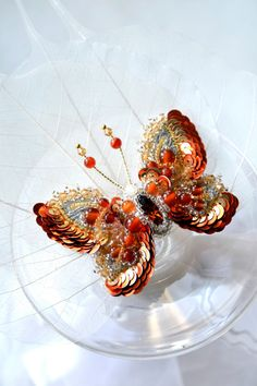 Red orange butterfly brooch. Exclusive ooak designer's jewelry butterfly gift for her, nature inspired jewelry red wedding anniversary gift on Etsy