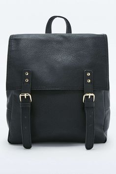 Black Square Buckle Backpack