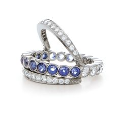 Flip ring with sapphires and rose cut diamonds from the Kwiat Vintage Collection in 18K white gold  Charming and versatile, the three row band features rose cut diamonds and sapphires with two rows of brilliant pave diamonds. The ring is designed to flip to either side