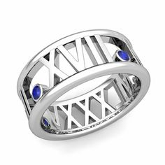 Custom Made 3 Stone Roman Numeral Wedding Ring Band set with natural blue sapphires. 3 Stone Diamond Ring, Diamond Gemstone, Unique Mens Rings, Ring Size Guide, Platinum Jewelry, Roman Numerals, Brilliant Diamond, Diamond Wedding Bands, Wedding Dreams