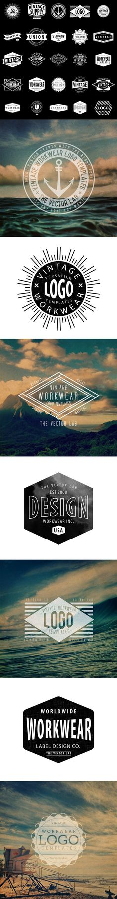 Vintage Workwear Logo Templates for Adobe Illustrator http://thevectorlab.com/products/logo-templates-vintage-workwear