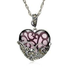 "Sterling Silver Marcasite and Amethyst Colored Glass Heart Pendant, 18"" (Currently 81% off)"