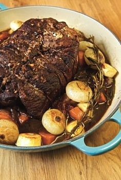 Venison rump roast in garlic and rosemary. Dutch oven