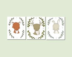 Woodland Nursery Art A set of prints of woodland animal art, an adorable addition to your nursery    *Be sure to select your size in the drop