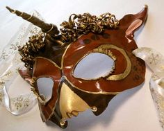 SteamPunk Unicorn Venetian Mardi Gras Carnival Masquerade leather mask sculpture