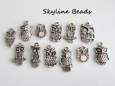 12 Assorted Owl Charms / Pendants Antique Silver by SkylineBeads, $2.75