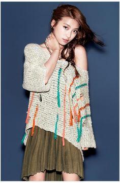 Bora SISTAR Plastic Island Fall 2012 - Cutout Off-the-shoulder Sweater, Green Asymmetrical Skirt/Dress
