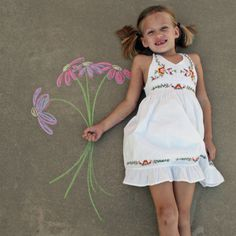 Sidewalk chalk art---you are never too young to try.