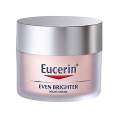 Eucerin Even Brighter Night Cream 50ml Reduces the appearance of pigmentation spots for an even and bright complexion. It reduces the production of melanin at its source, visibly evening out pigmentation at the surface. http://www.MightGet.com/april-2017-2/eucerin-even-brighter-night-cream-50ml.asp