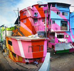 Neighborhood slum in brazil gets a much needed burst of happiness.