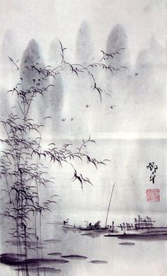 Mountain and Water Painted on Chinese Rice Paper By Deng Ping. born in Guilin in…