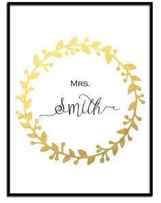 Gold wreath personalized name print Bride by SansSouciPrintables