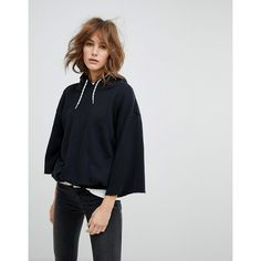 Levis' Line 8 Oversized Hoody ($72) ❤ liked on Polyvore featuring tops, hoodies, black, fitted shirts, levi's shirt, cuff sleeve shirt, denim hoodie and denim shirts