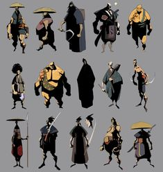 Samurai Concepts and other character Character Design References, Game Character, Character Concept, Concept Art, Character Sheet, Animation, Samurai Concept, Bd Comics, Norman Rockwell