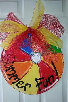 Door+hanger+summer+beach+ball+summer+fun+by+SerendipityDoorFun,+$40.00