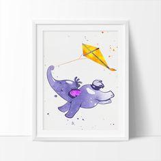 Elephant print Watercolor Art Purple Nursery Art by BigFamilyArt