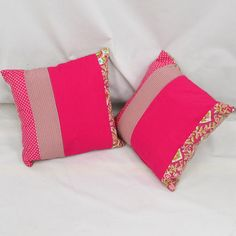 Hot Pink / bright Pink Striped Cushions.