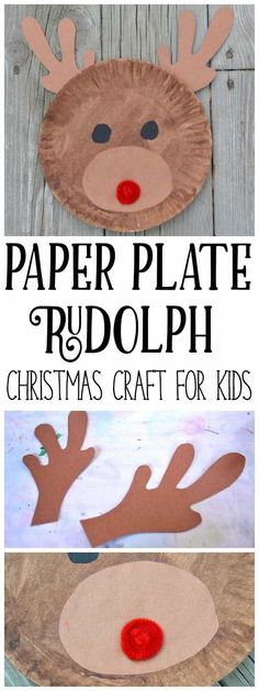 Easy Paper Plate Rudolph Craft for Kids - Rentier basteln Christmas Crafts For Toddlers, Preschool Christmas, Crafts For Boys, Christmas Activities, Toddler Crafts, Preschool Crafts, Kids Christmas, Holiday Crafts, Christmas Arts And Crafts