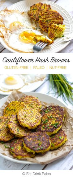 These paleo friendly cauliflower hash browns are delicious and healthy alternative to potato originals. This recipe is nut-free, grain-free and Cauliflower Hash Browns - Low Carb Recipes, Whole Food Recipes, Diet Recipes, Vegetarian Recipes, Bariatric Recipes, Chicken Recipes, Sausage Recipes, Mexican Recipes, Family Recipes