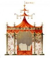 Zega & Dams created architectural drawings of Chinese-themed buildings in a beautiful book, Chinoiseries.  This is a design for a tent for Marie Antoinette.