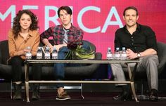 What Fee looks like in real life. Tatiana Maslany, Dylan Bruce and Jordan Gavaris at event of #Orphan Black