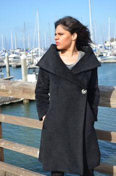 Black Coat Alpaca Wool Shawl Collar Elegance Barely by Vtgantiques, $180.00