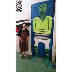 """""""Tiago, 13 anos, ao lado do seu grafite finalizado #cursododaltoncrianças"""""""