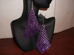 Purple Mesh Rhinestone Earrings $ 6.00 (+ Shipping $3.50) to Purchase item please email Leonie at leonie@rsgiftsandfashions.com. You will receive an email response within 24hours. All payments are made through paypal.( Order 4 or more Items Free Shipping!).www.rsgiftsandfashions.com