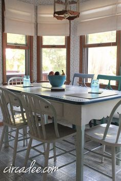 1940s Enamel Top Table , And Idea For Mixing Vintage Chairs ! I Have These  Too