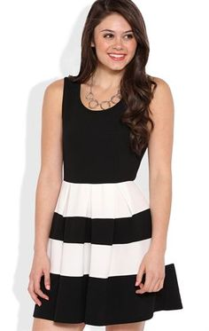 Deb Shops Skater Dress with Striped Pleated Skirt $26.25