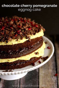 ...Chocolate Cherry Pomegranate Eggnog Cake | Receita #chocolate -  #meal -  #cake