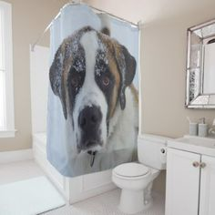 Saint bernard in snow shower curtain - dog puppy dogs doggy pup hound love pet best friend