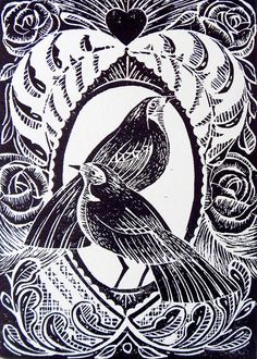 Valentine Lino Print by Mangle Prints, via Flickr