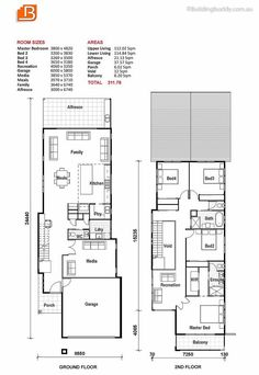 Custom home design and build, concept to completion. Plans, prices and builders Modern House Floor Plans, Craftsman Floor Plans, Narrow Lot House Plans, Family House Plans, New House Plans, Dream House Plans, Duplex House Design, Duplex House Plans, Bedroom House Plans