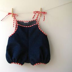 Candy Stripe Denim Baby Romper by NeverEver.
