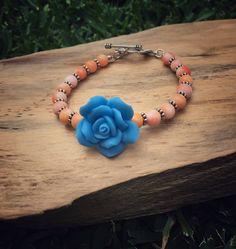 Orange bamboo coral bracelet by ButternutJewelryShop on Etsy