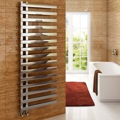 View our fantastic range of designer towel radiators & designer towel rails - in many sizes & styles including chrome, grey & black! Ensuite Bathrooms, Upstairs Bathrooms, Small Bathroom, Modern Bathroom, Bathroom Radiators, Bathroom Furniture, Towel Radiator, Heated Towel Rail, Roof Design