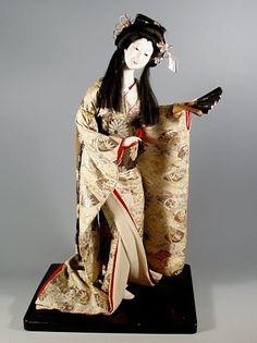 Tall Japanese Ningyo, Geisha Doll with Fan, Meiji