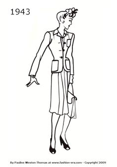 1943 Fashion history suit silhouette drawing
